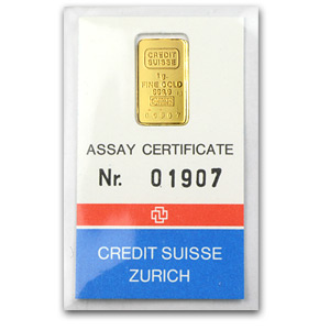 1 gram Gold Bar - Mint Varies (w/Assay)