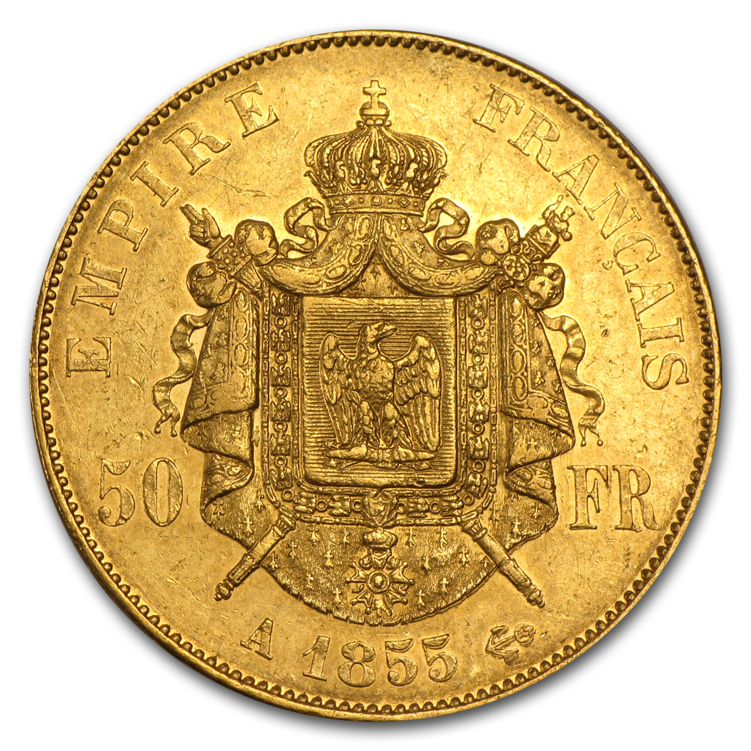 1855-1859 France Gold 50 Francs Napoleon III Avg Circ