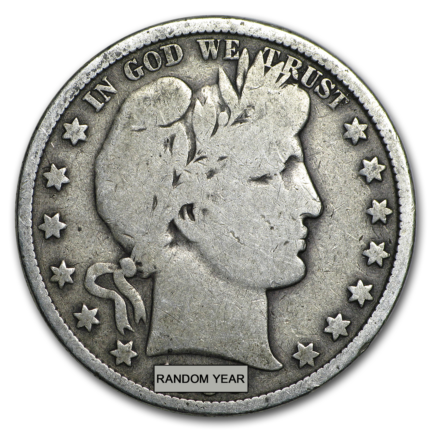90% Silver Barber Half-Dollars $100 Face-Value Bag
