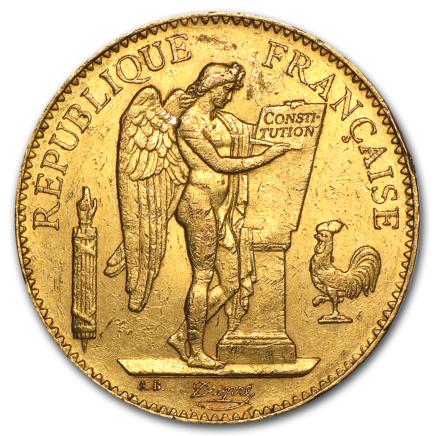 1878-1914 France Gold 100 Francs Lucky Angel Avg Circ