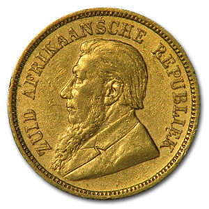 1893-1897 South Africa Gold 1/2 Pond Avg Circ (Random)