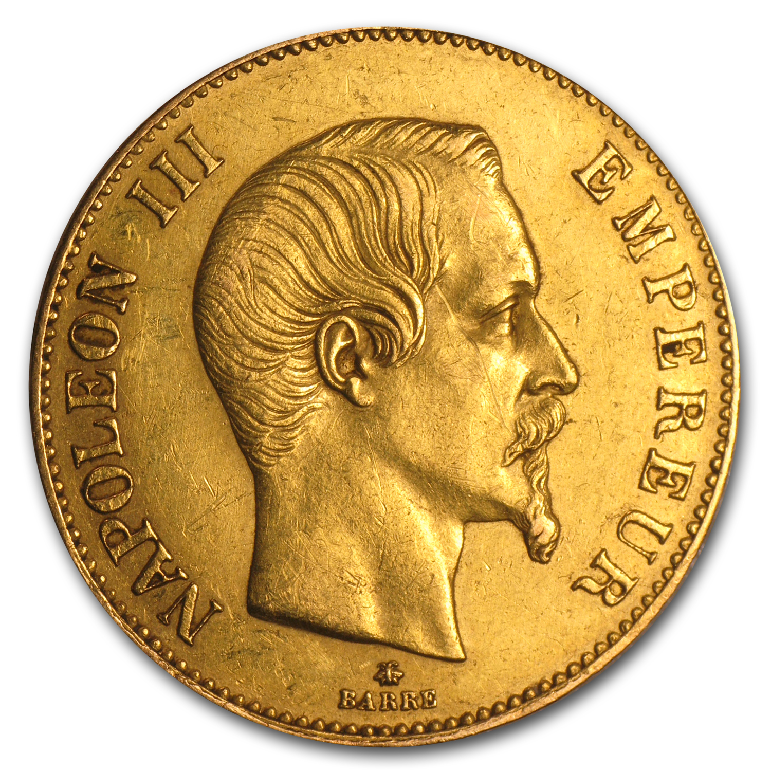 1855-1869 France Gold 100 Francs Napoleon III (Scruffy)