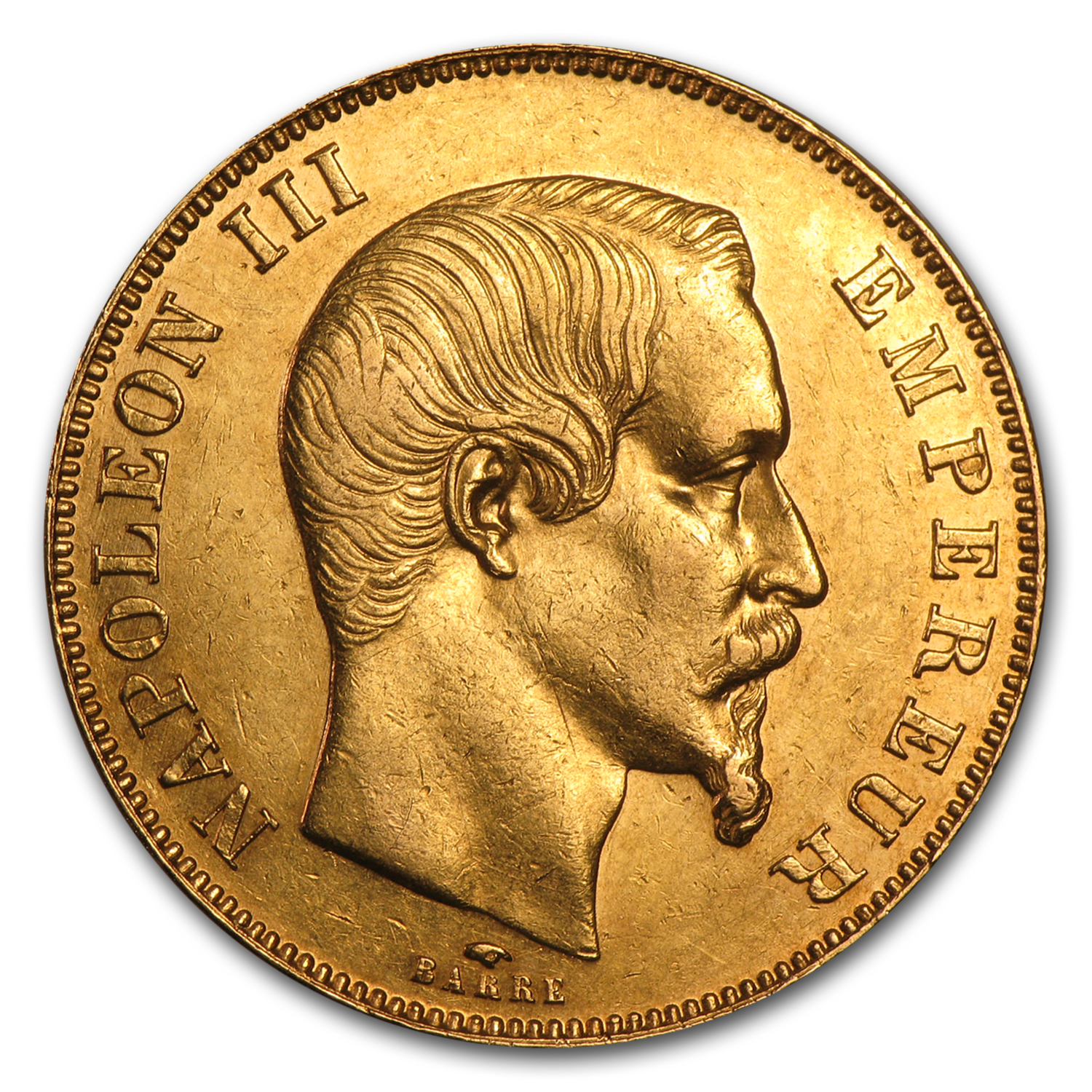 1855-1859 France Gold 50 Francs Napoleon III AU