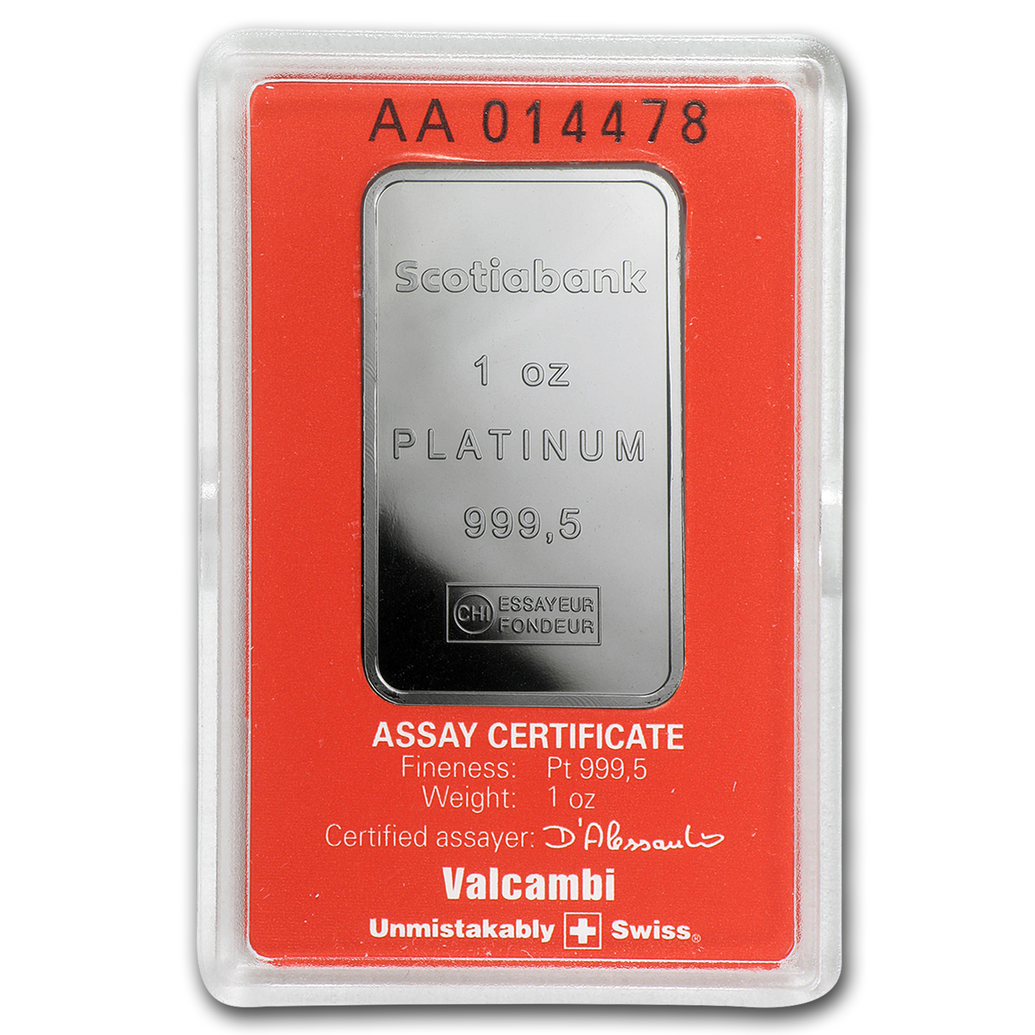 1 oz Platinum Bar - Scotiabank (In Assay)