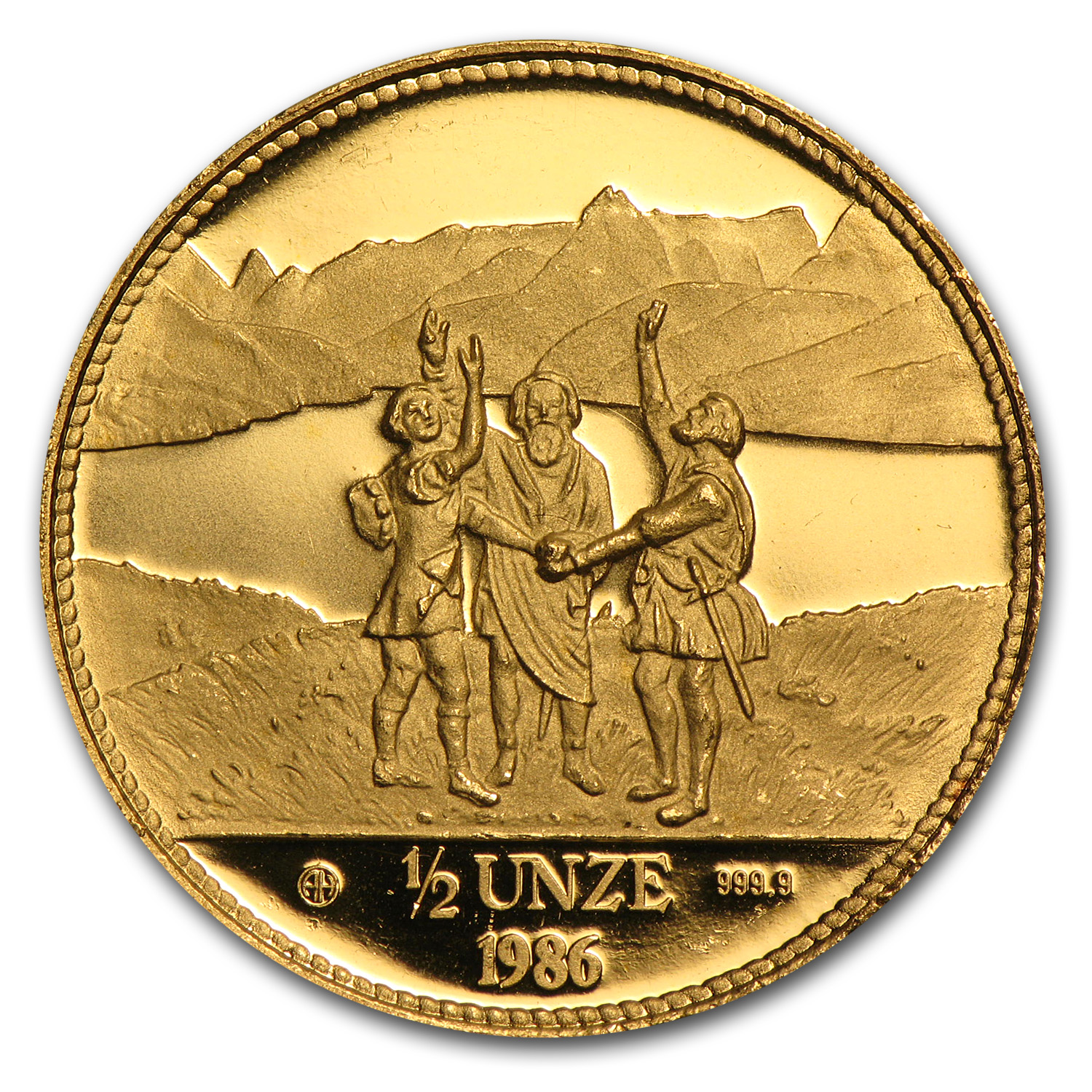1986-1989 Switzerland 1/2 Unze Gold