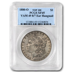 1880-O Morgan Dollar XF-45 PCGS (VAM-49, Hangnail 8/7, Top-100)