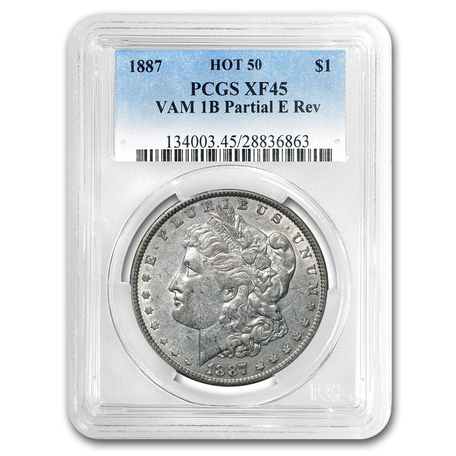 1887 Morgan Dollar XF-45 PCGS (VAM-1B, Partial E Rev, Hot-50)