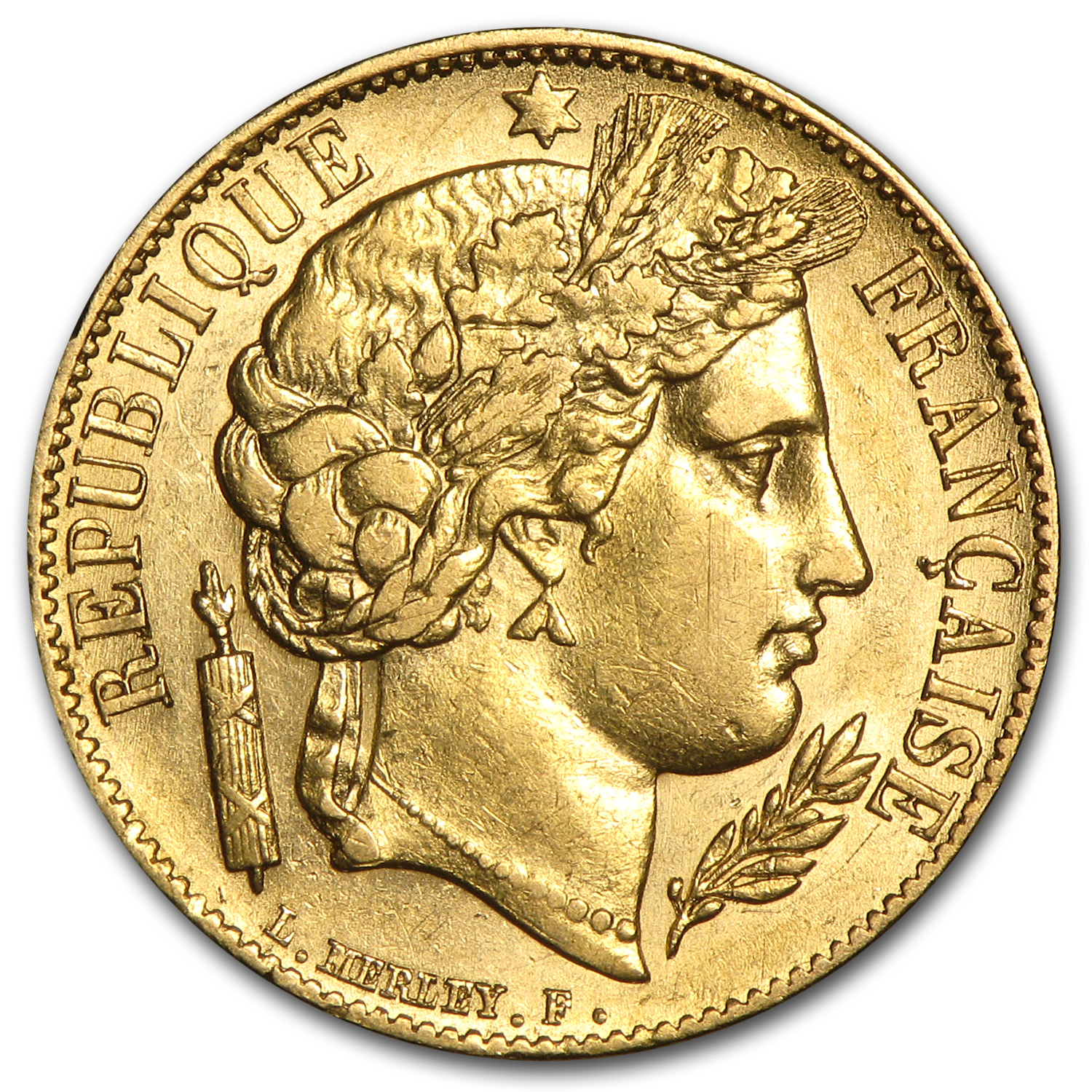 1850-1851 France Gold 20 Francs Early Head Ceres AU