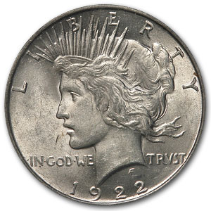 1922 Peace Dollar AU-58 PCGS VAM-1F Field Die Break Top-50