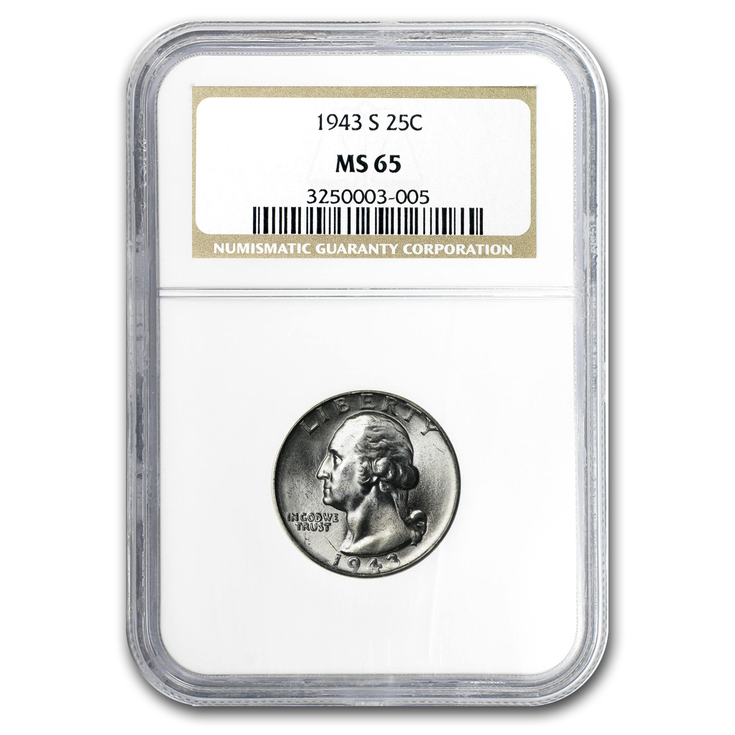 1943-S Washington Quarter MS-65 NGC