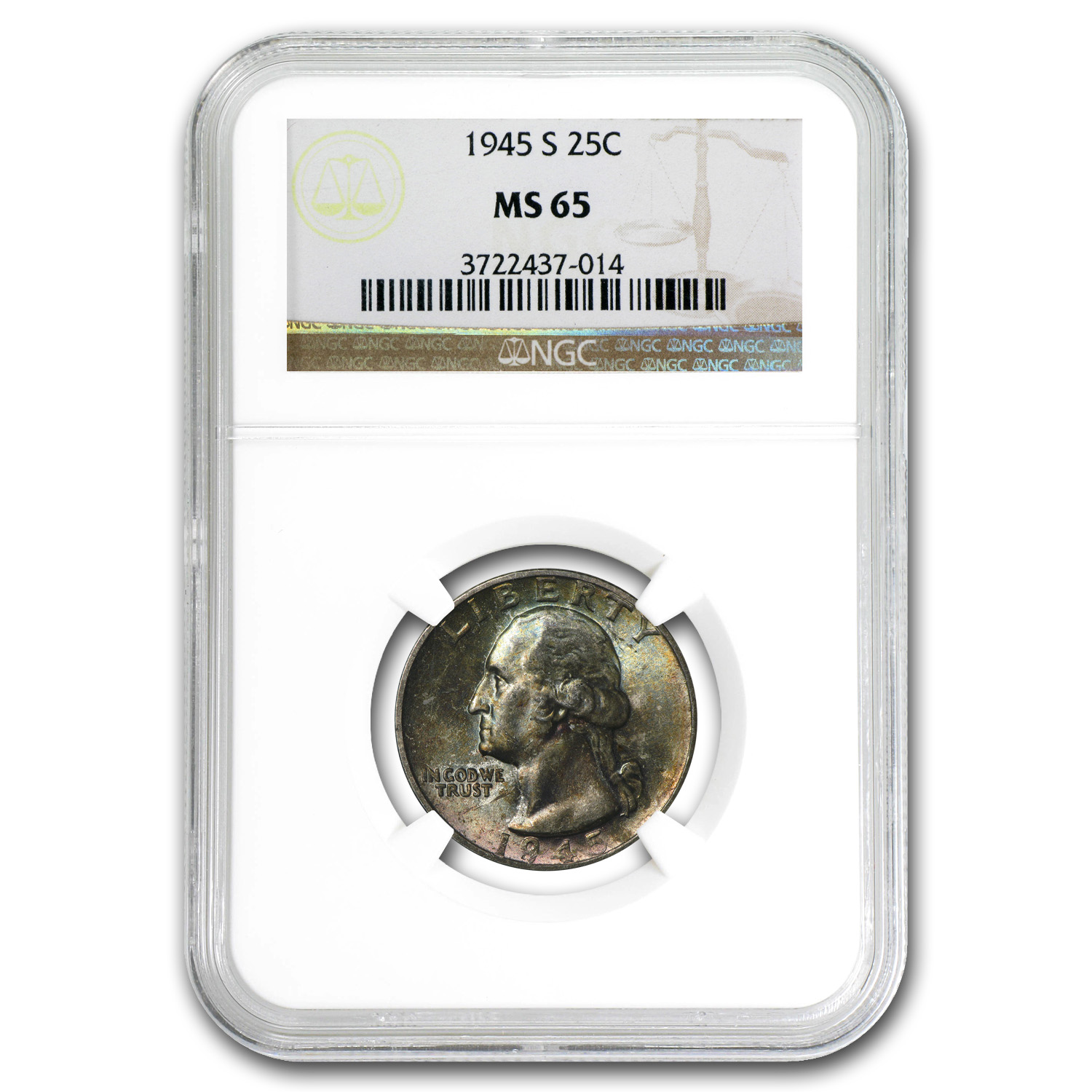 1945-S Washington Quarter - MS-65 NGC