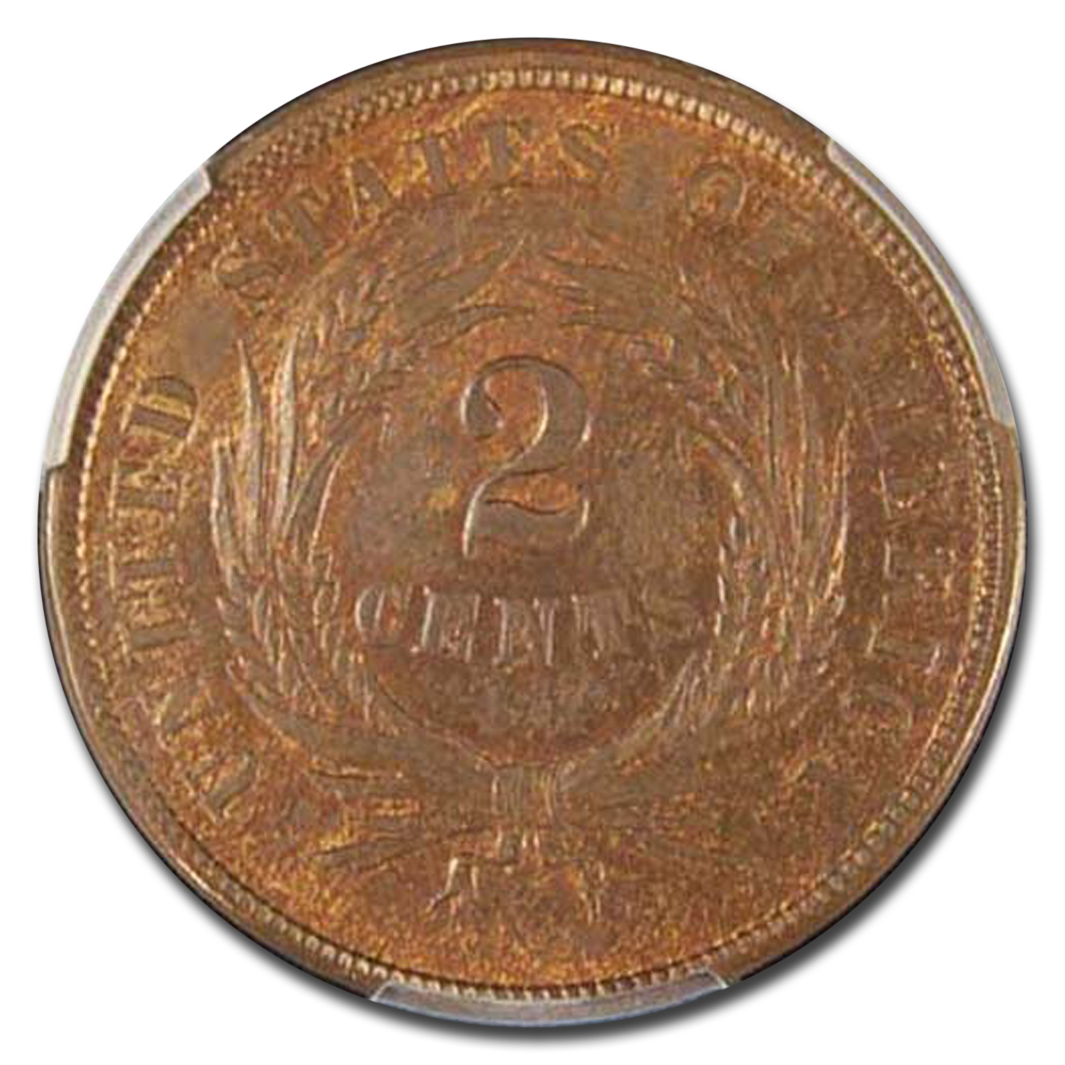 1864 Two Cent Piece Large Motto MS-64 PCGS (Red/Brown)