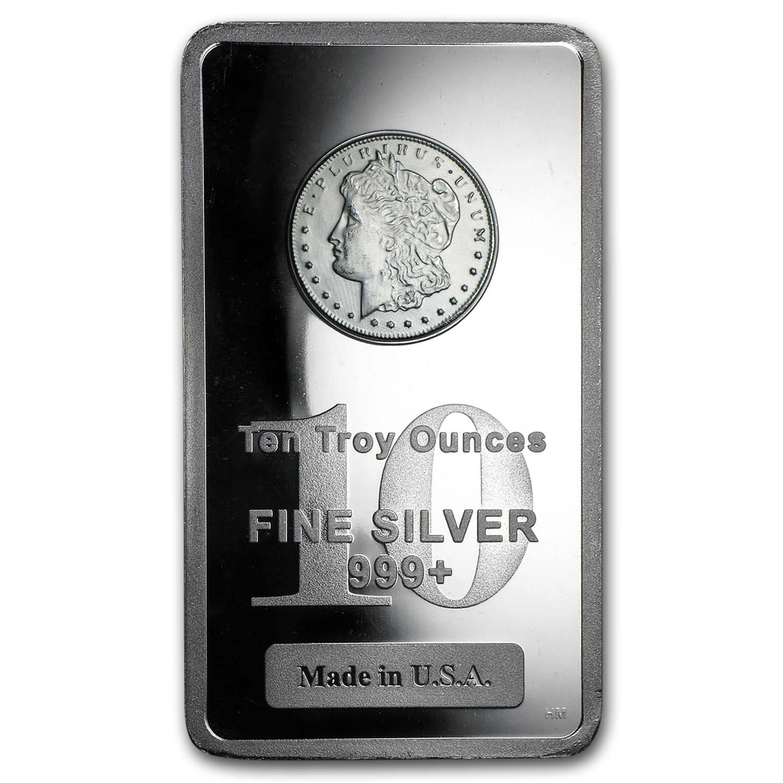 10 Oz Silver Bar For Sale Morgan Dollar Design Apmex