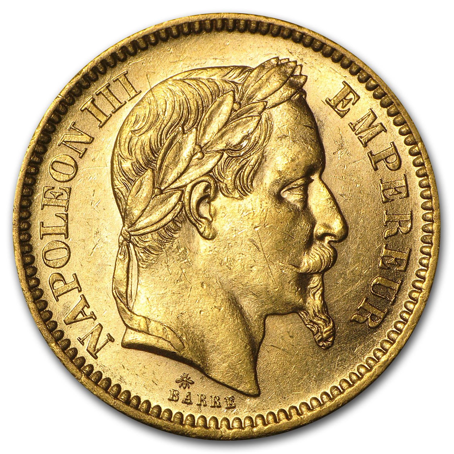 French Gold 20 Francs (Napoleon III) (BU)