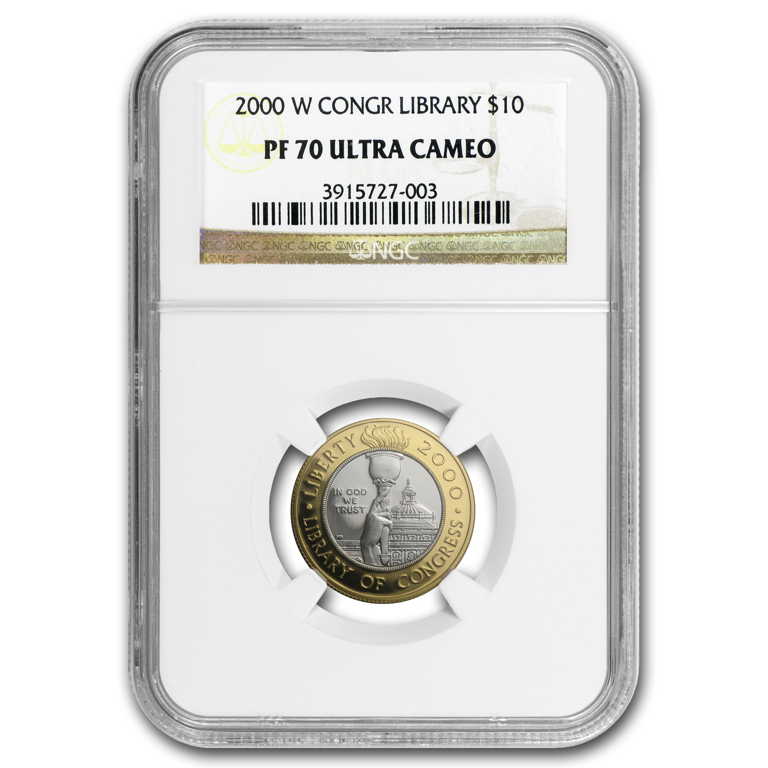 2000-W Gold $10 Commem Library of Congress Proof-70 NGC