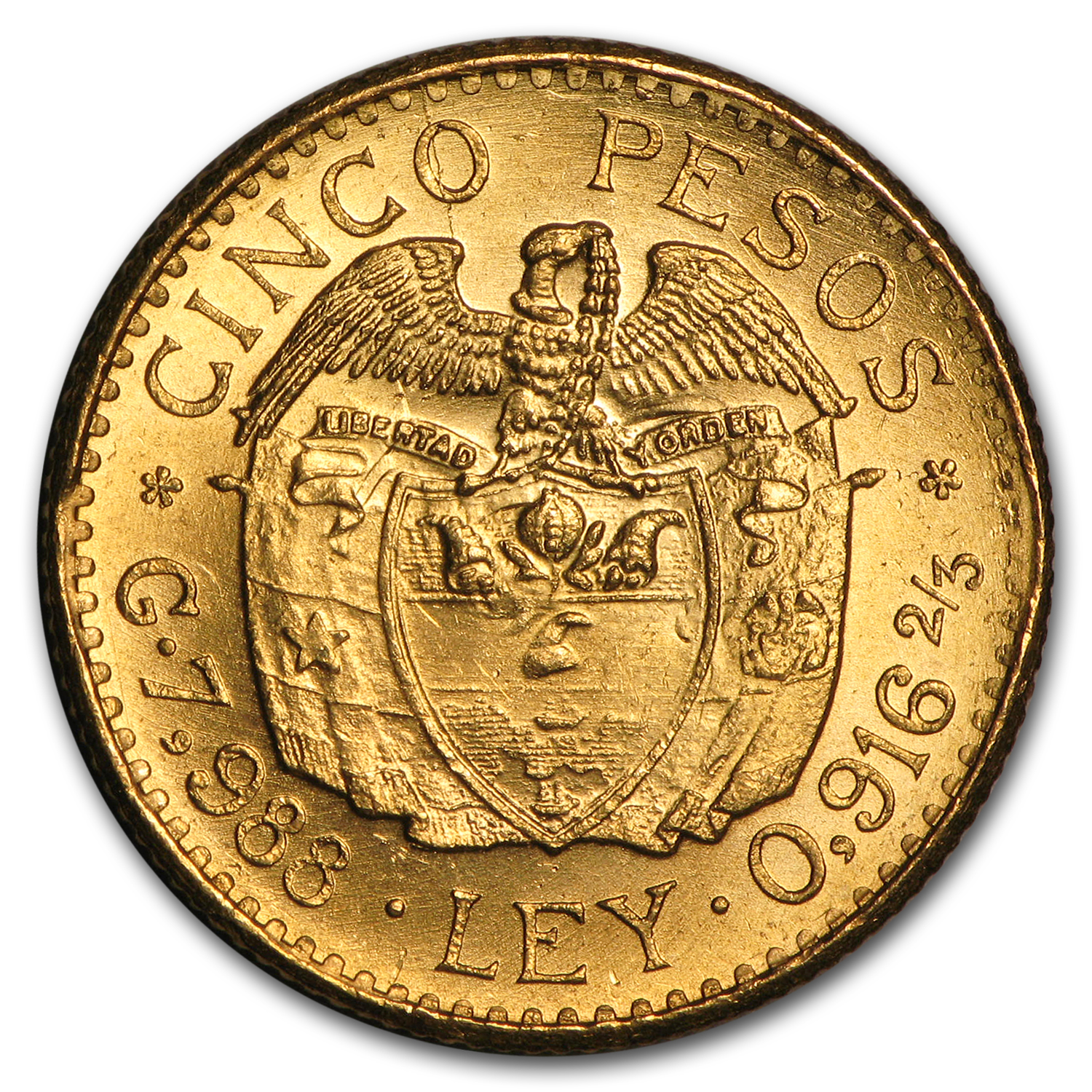 Colombia Gold 5 Pesos Average Circ