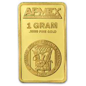 1 gram APMEX Gold Bar .9999 Fine