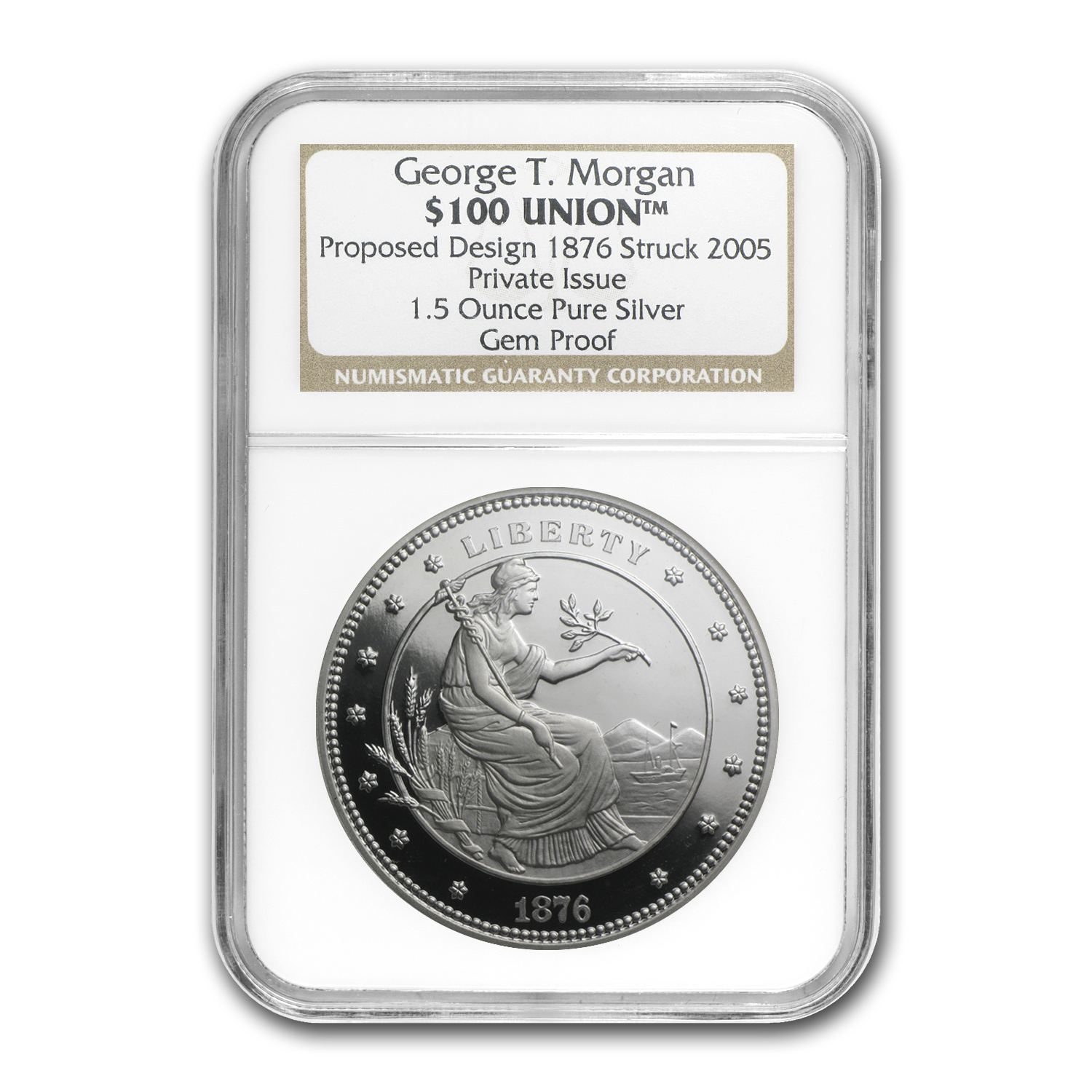 1.5 oz Silver Round - $100 Union George T Morgan (NGC, Gem Proof)