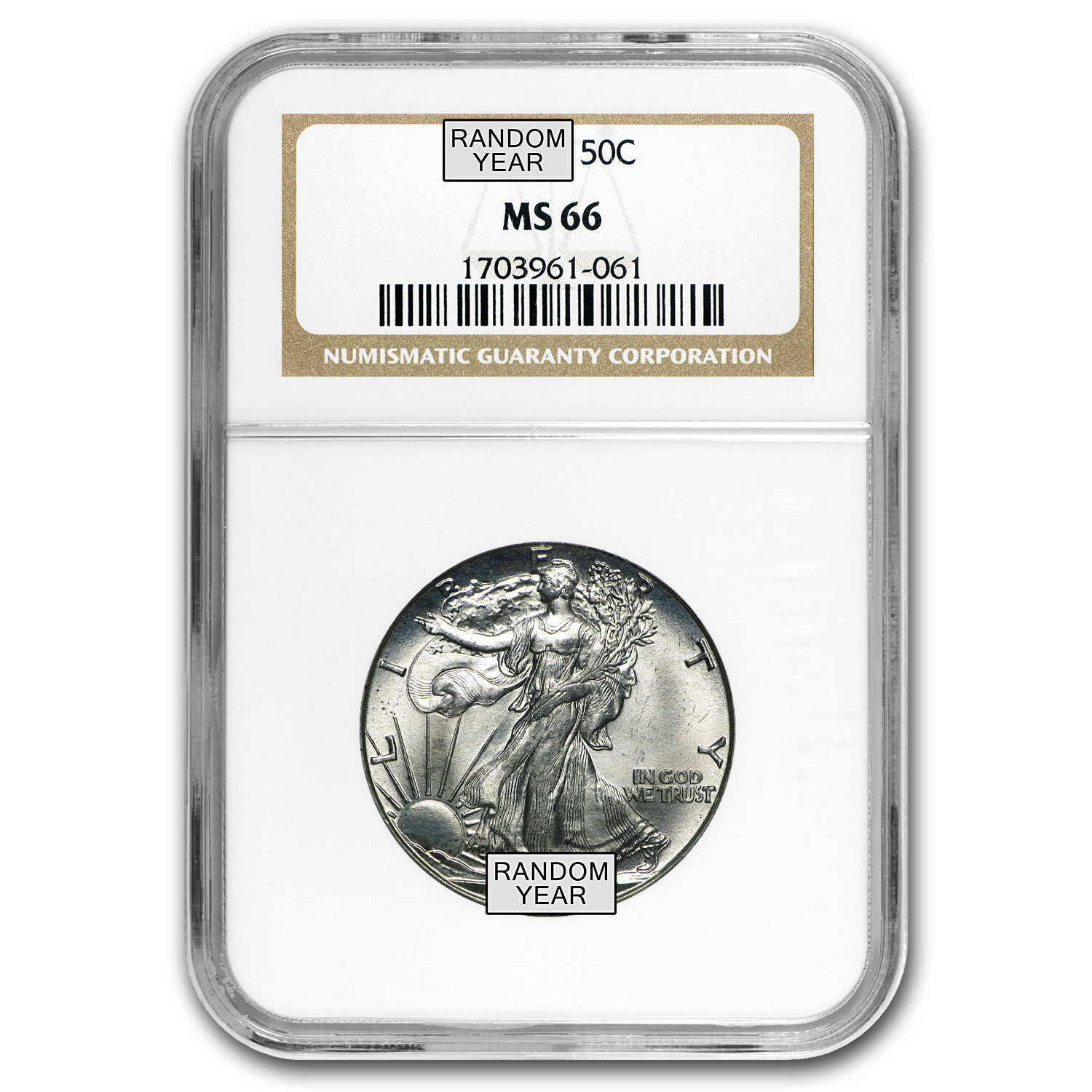 1940-1947 Walking Liberty Half-Dollar MS-66 NGC (Random)