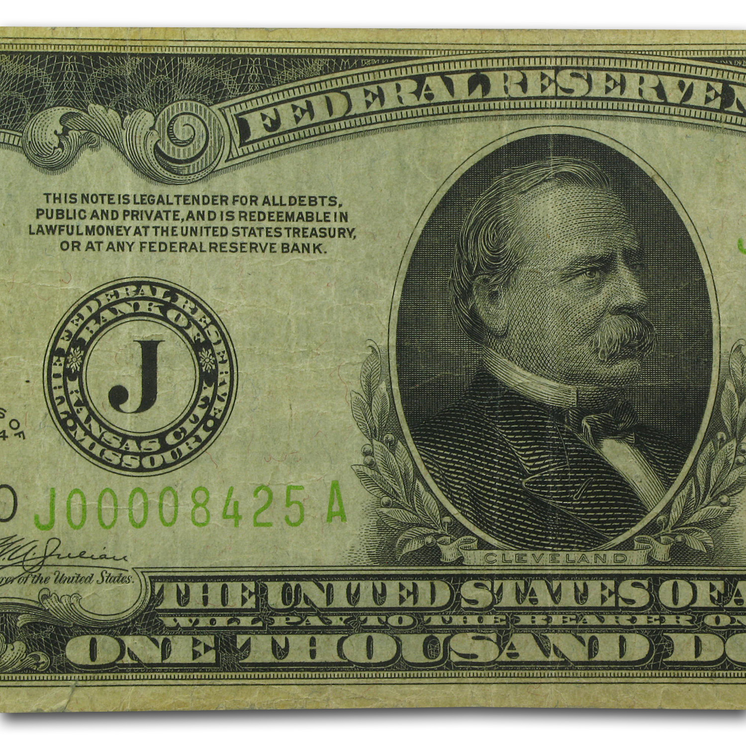1934 (J-Kansas City) $1,000 FRN VF (FR#2211-J)