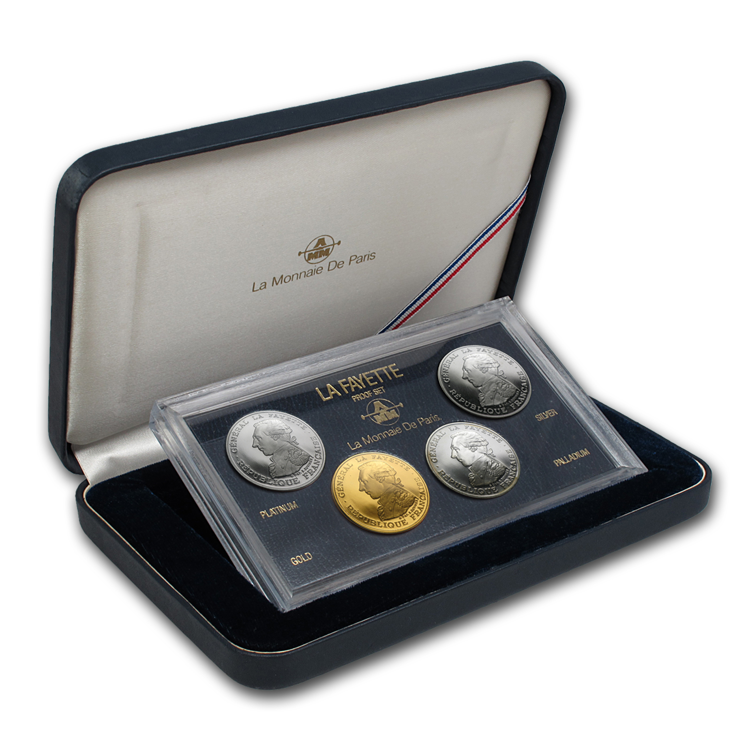 1987 France Plat/Pall/Gold/Silver 100 Francs Proof Set