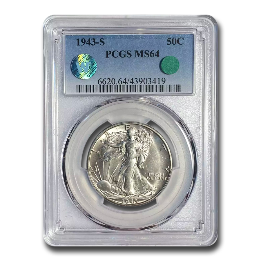 1943-S Walking Liberty Half Dollar MS-64 PCGS