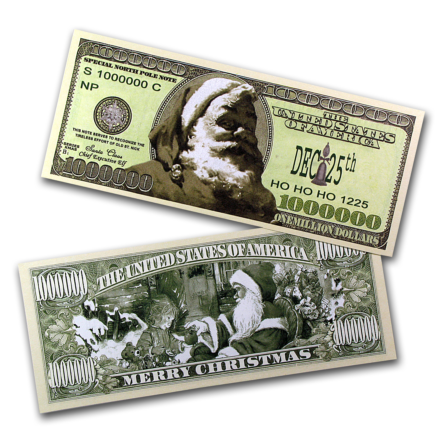 Novelty $1,000,000 Bills - Santa