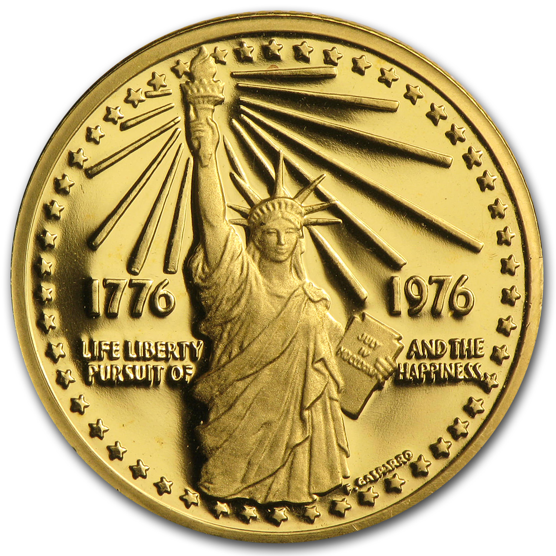 415 Oz Gold Round 1976 American Bicentennial 900 Fine