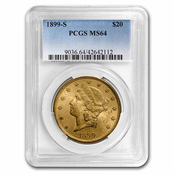 1899-S $20 Liberty Gold Double Eagle MS-64 PCGS