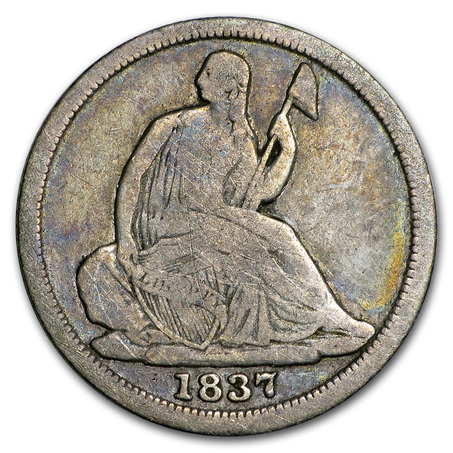 1837 Liberty Seated Half Dime Large Date Good Liberty