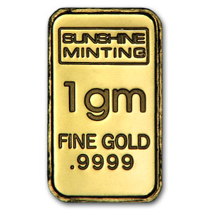 1 gram Gold Bar - Sunshine Minting (Vintage Design)