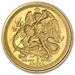 Isle of Man 1/2 oz Angels Gold BU/Proof (Handled)