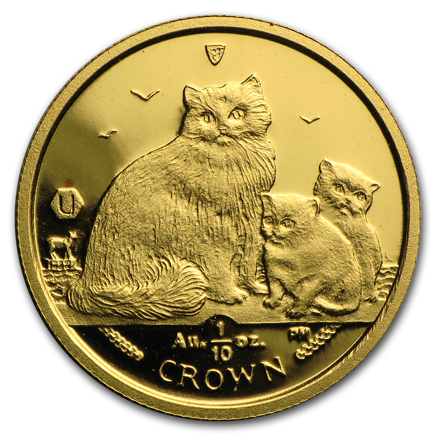 2007 Isle of Man 1/10 oz Gold Ragdoll Cat BU