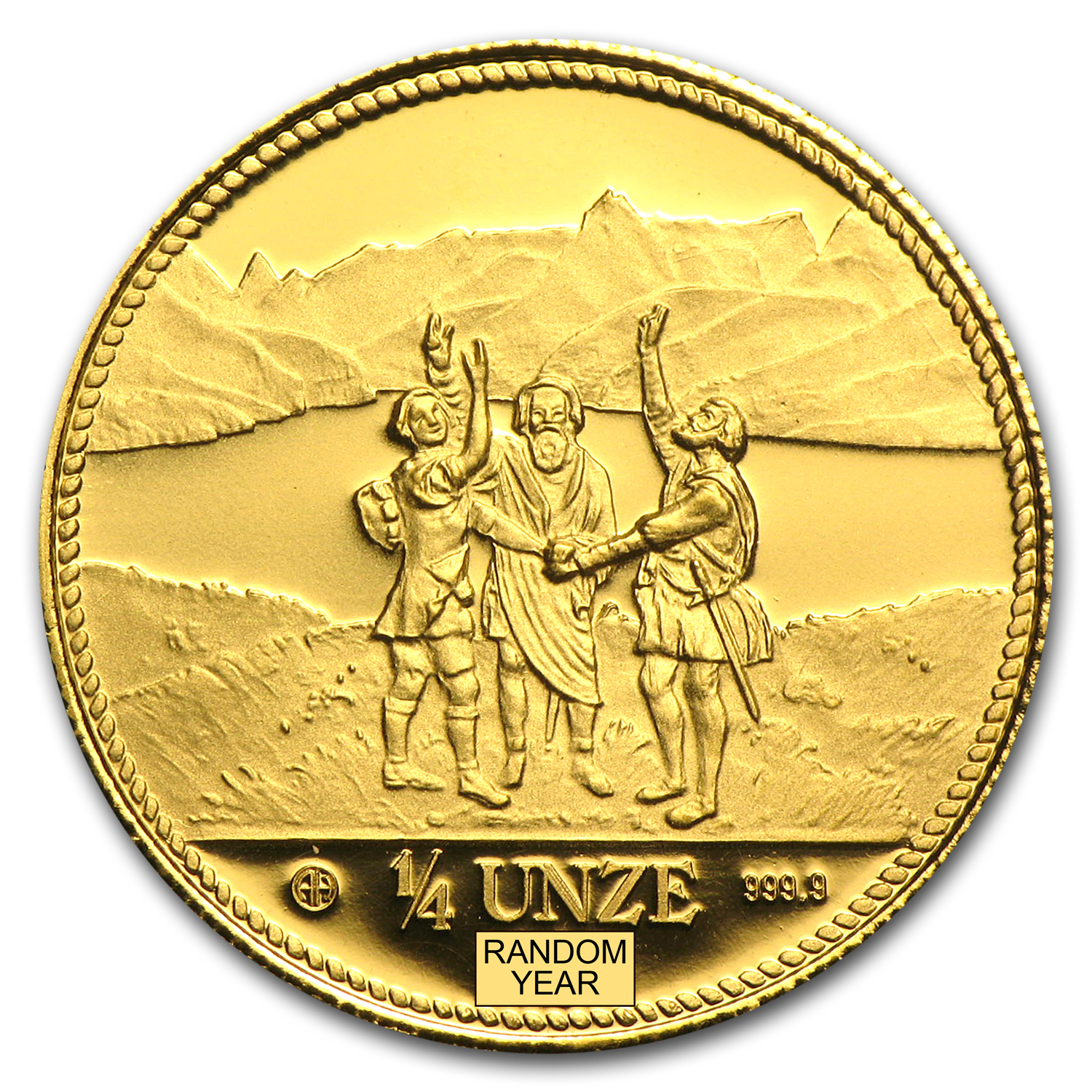 1986 Switzerland 1/4 Unze Gold Eternal Pact Proof