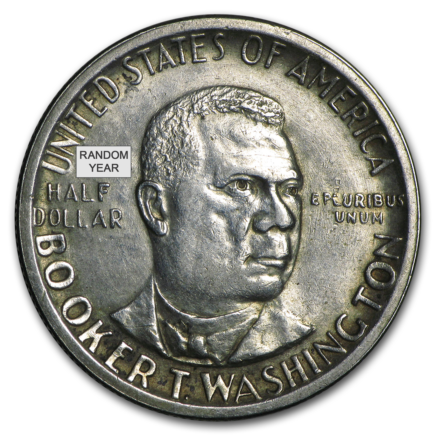 1946-51 P, D or S Booker T Washington Half (Low Grade/Cleaned)