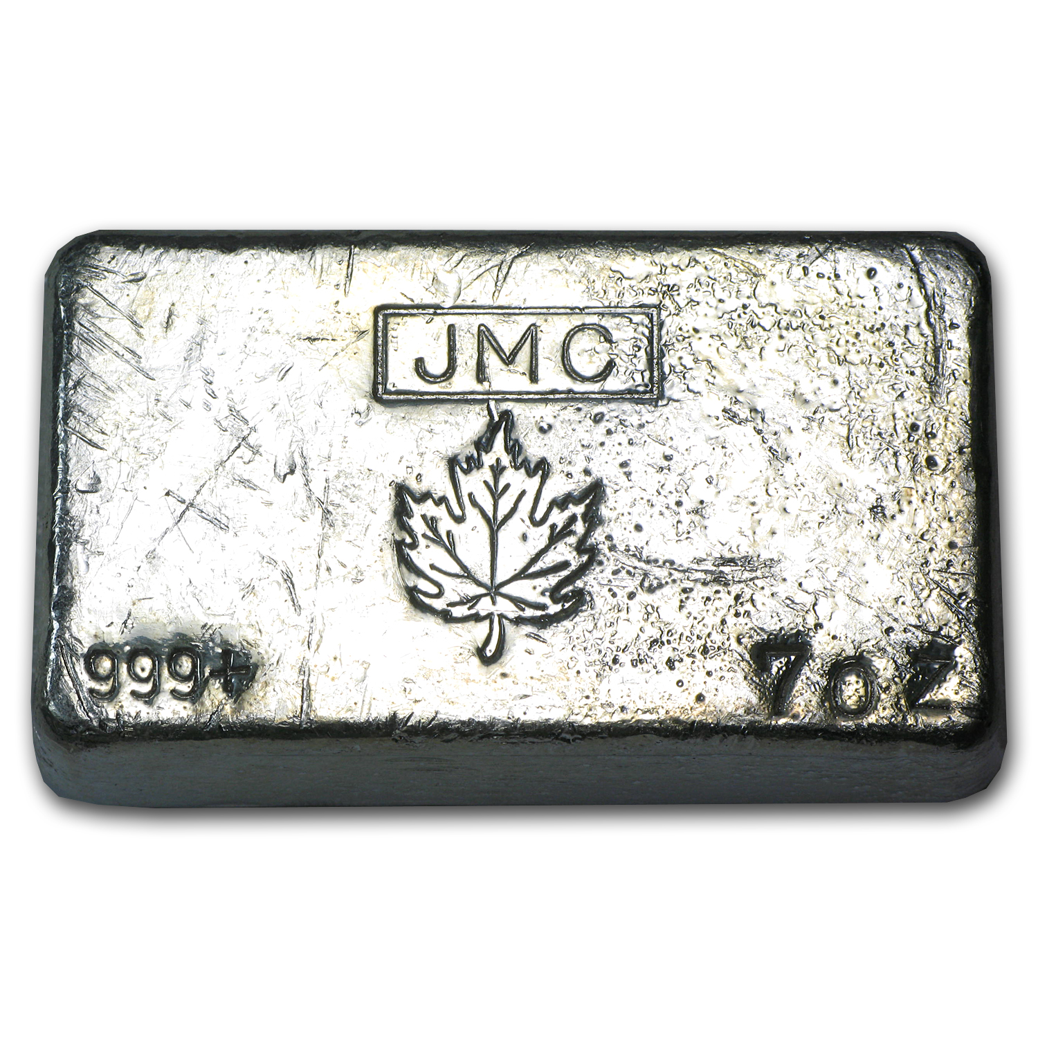 7 oz Silver Bar - Johnson Matthey Canada (Poured, Maple Leaf)