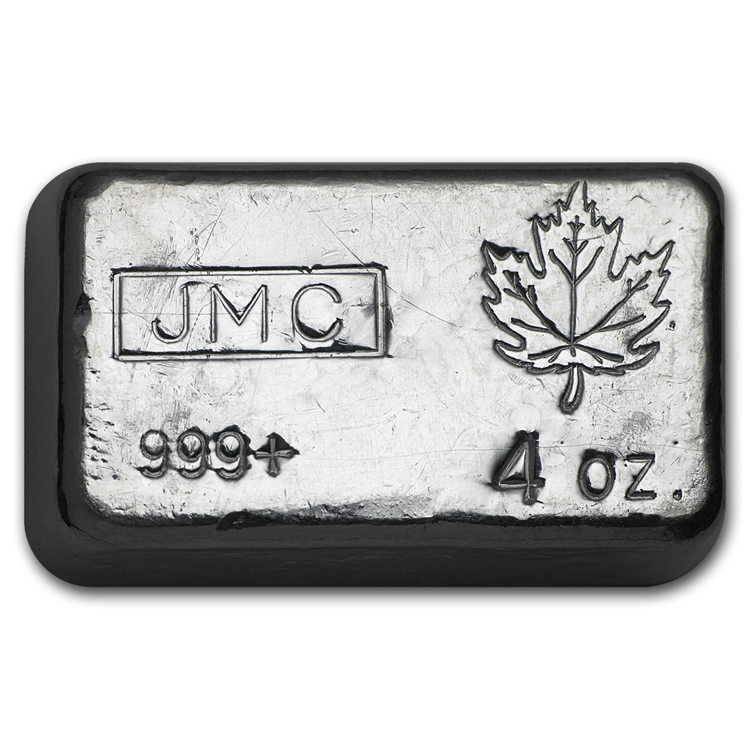 4 oz Silver Bar - Johnson Matthey Canada (Poured, Maple Leaf)