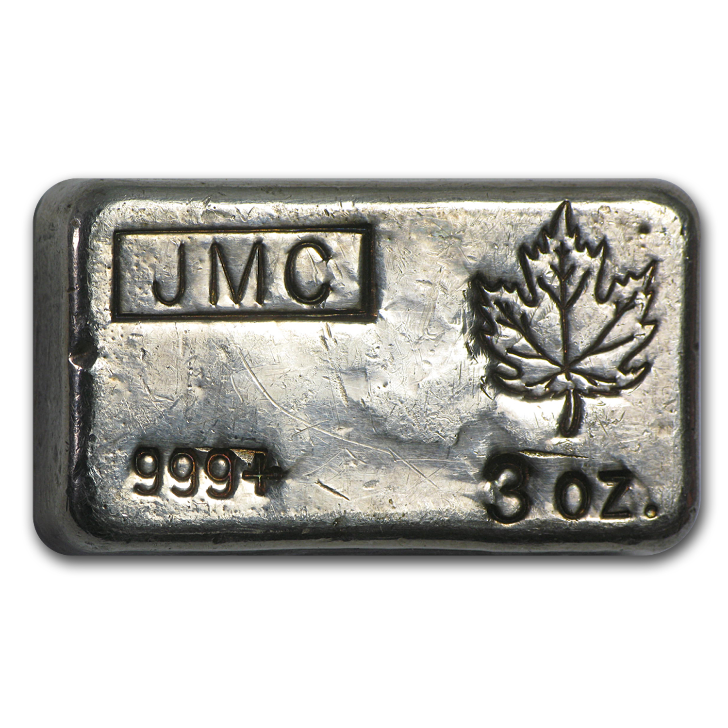 3 oz Silver Bar - Johnson Matthey Canada (Poured, Maple Leaf)