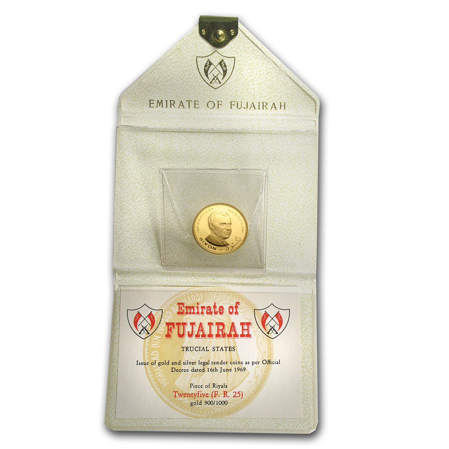 Fujairah 1970 25 Riyals Gold Proof Richard M. Nixon