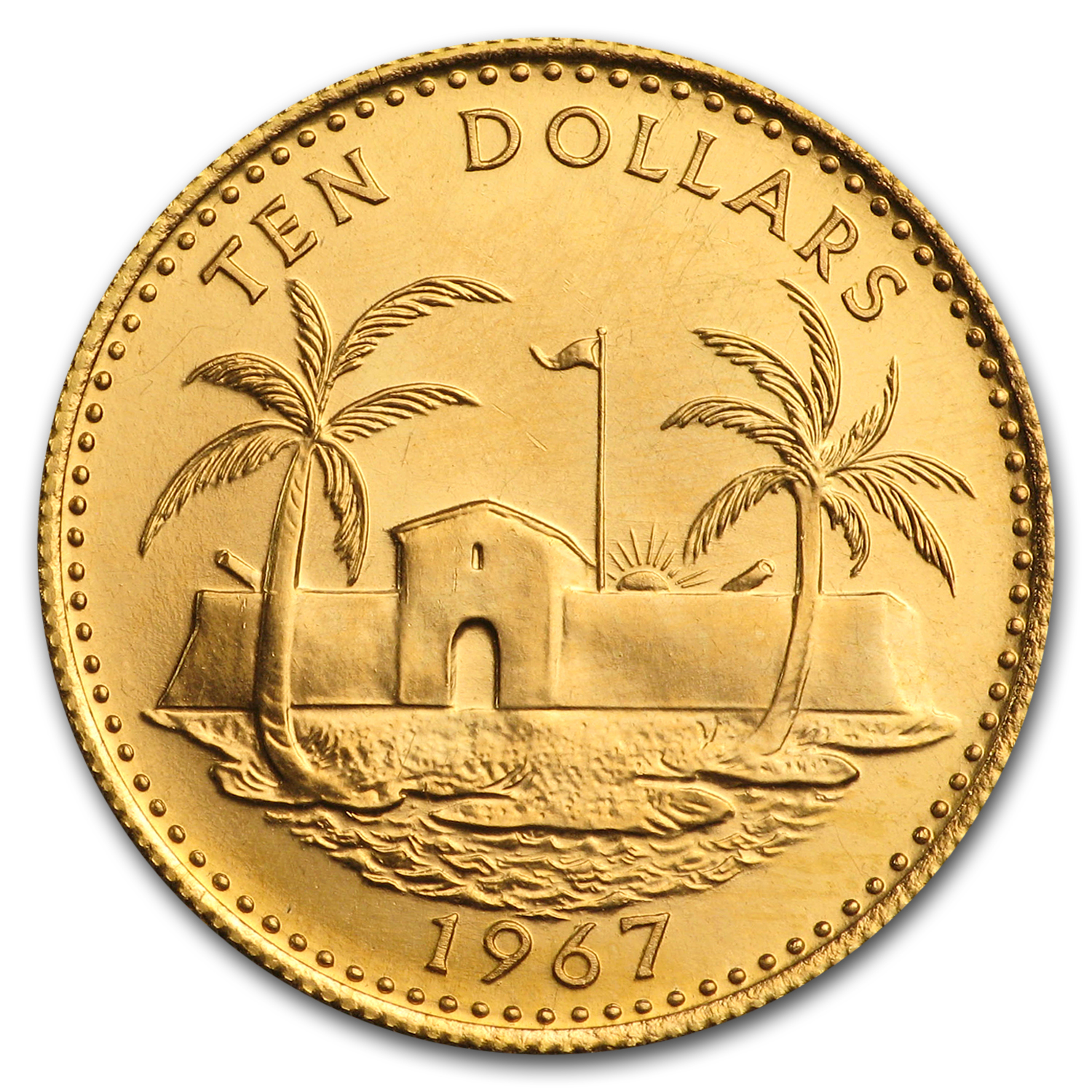 Bahamas 1967-71 Proof Gold 10 Dollars Fortress & Palms (Unc.)