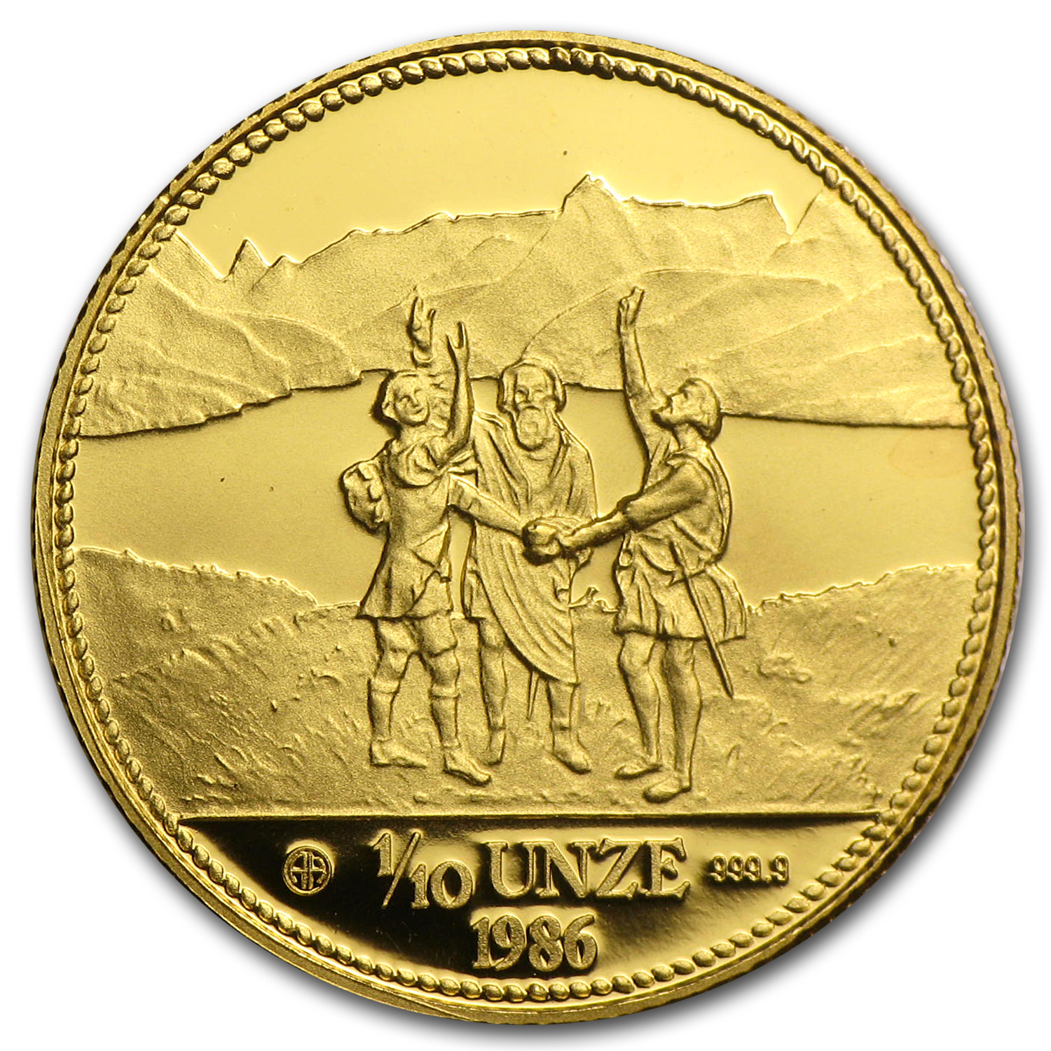 1986 Switzerland 1/10 Unze Gold Eternal Pact Proof