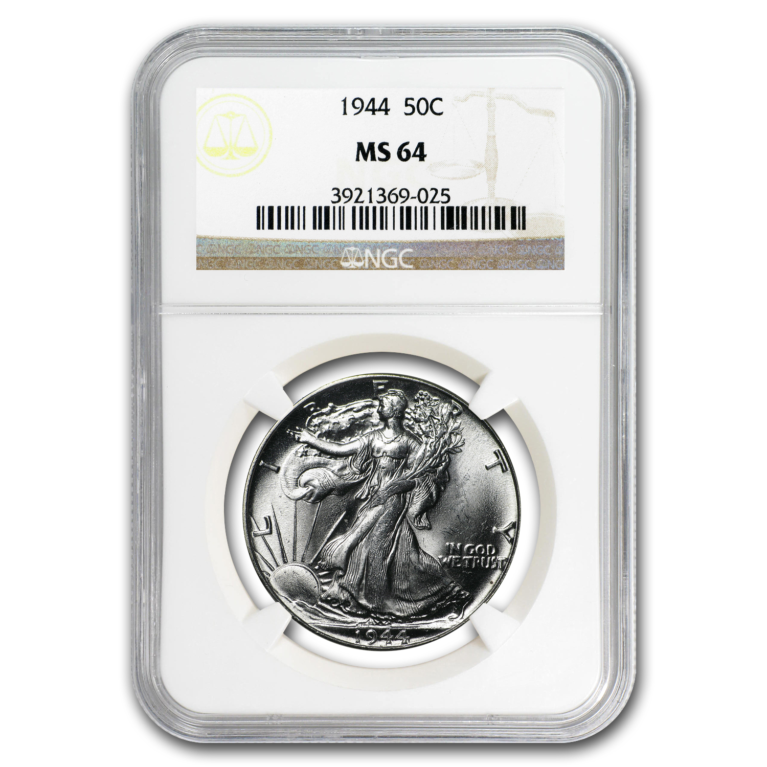 1944 Walking Liberty Half Dollar MS-64 NGC