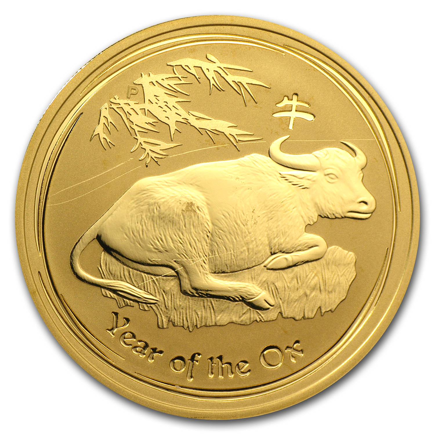 2009 1 oz Gold Lunar Year of the Ox (Series II) (Abrasions)