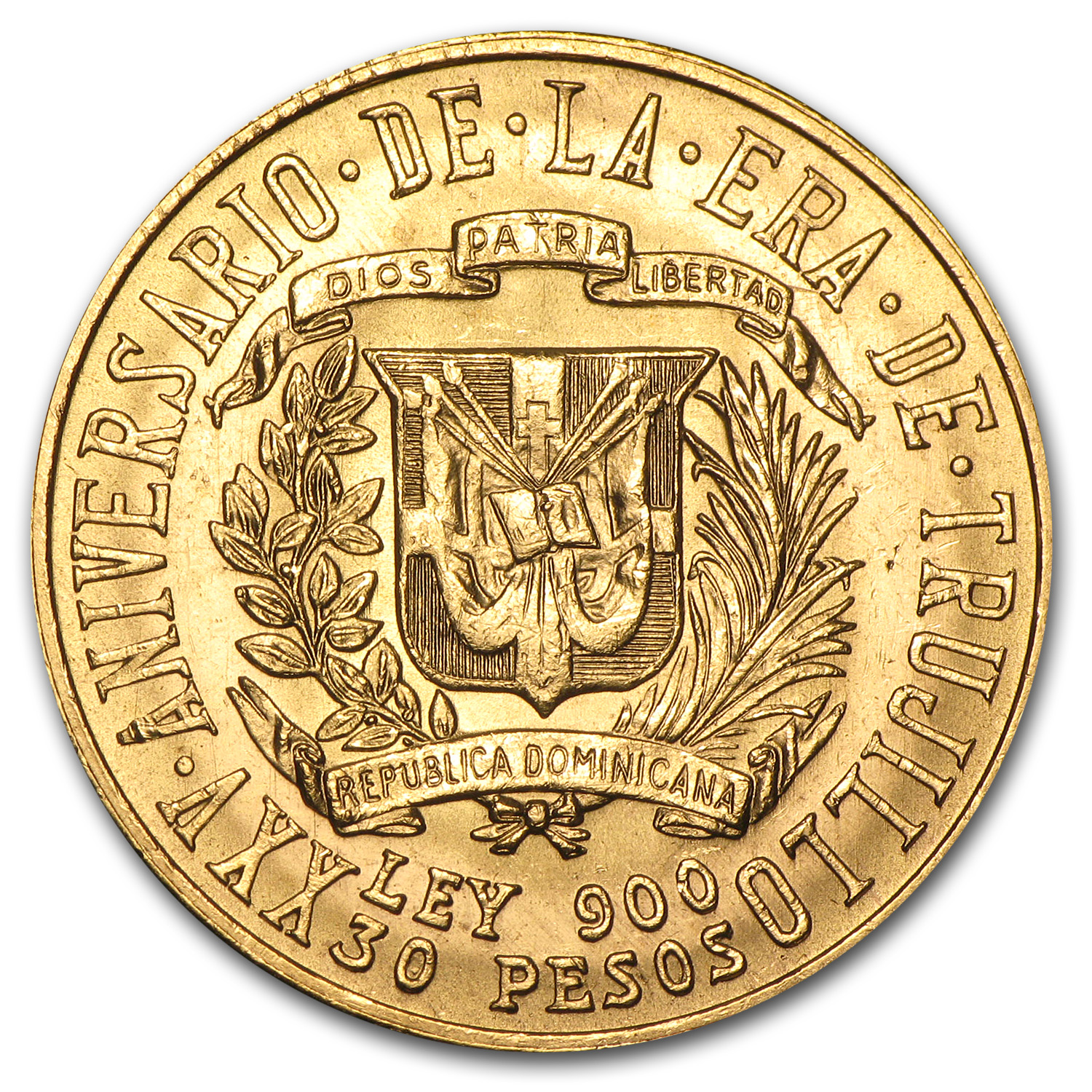 1955 Dominican Republic Gold 30 Pesos Rafael Trujillo BU