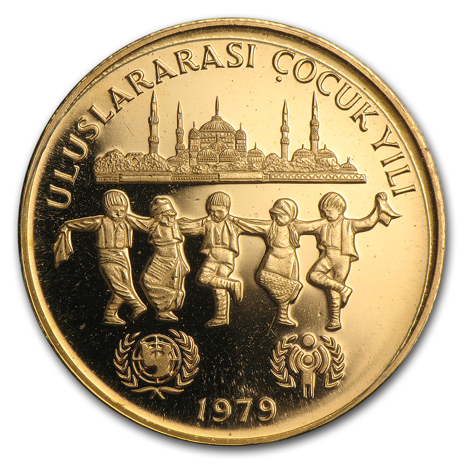 1979 Turkey Proof Gold 10,000 Lira UNICEF and IYC