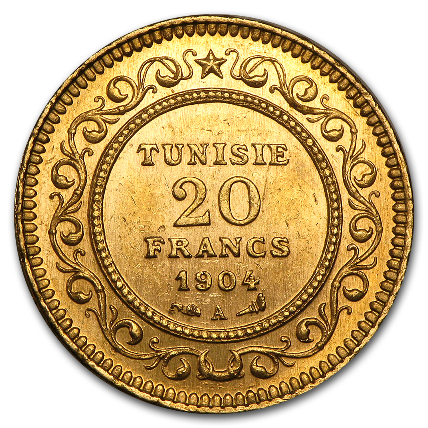 1891-1904 Tunisia Gold 20 Francs Paris Mint Average Circulated