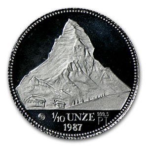 1987 Switzerland 1/10 oz Proof Platinum Matterhorn