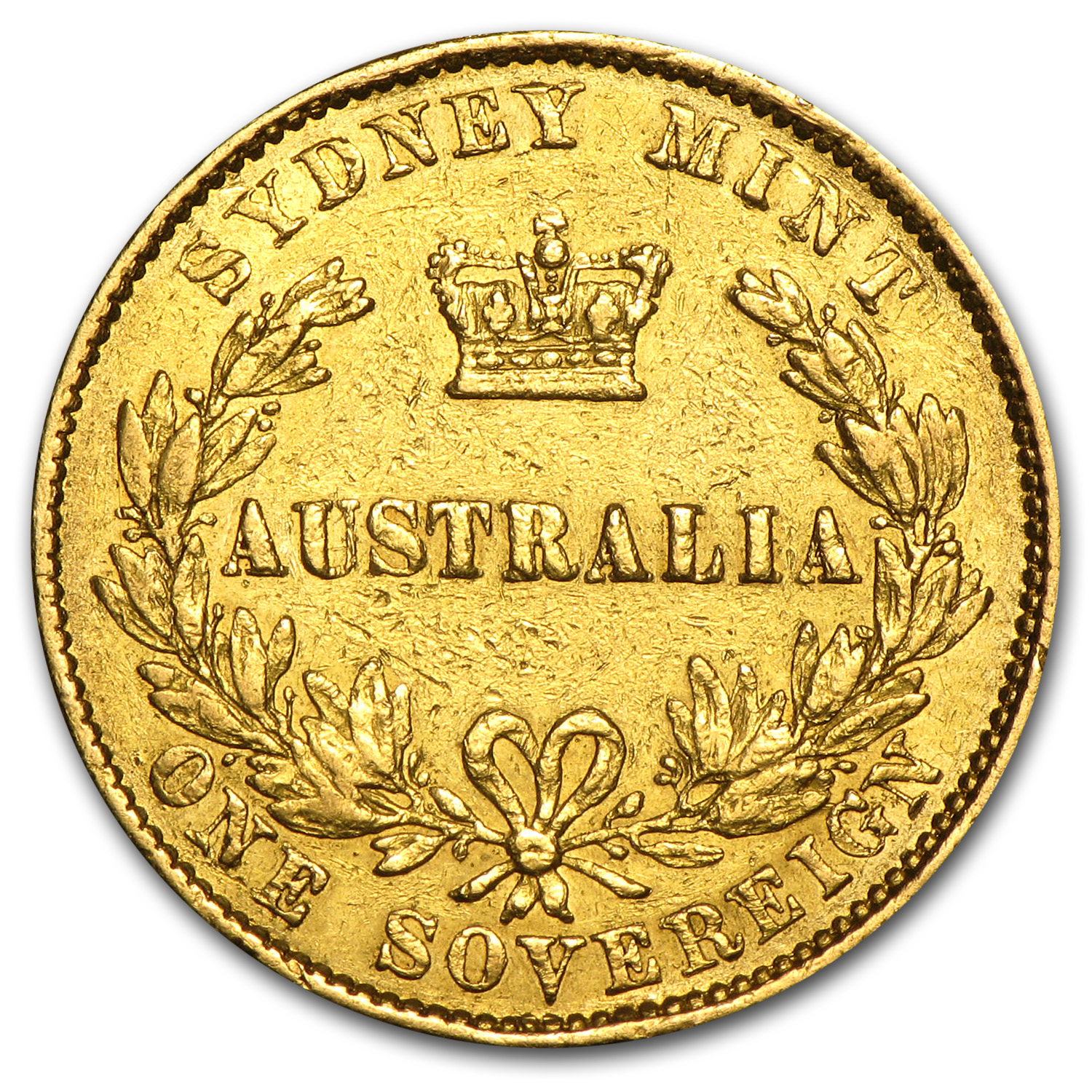 1857-1870 Australia Gold Sovereign Victoria Sydney Mint (Scruffy)