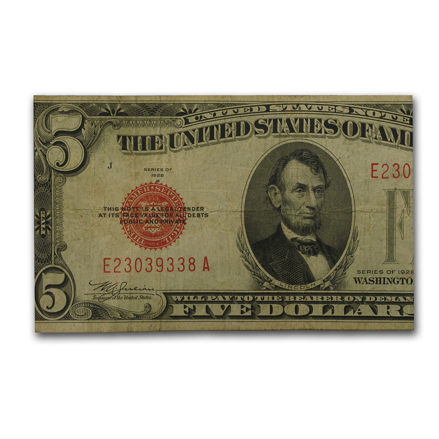 1928-B thru 1928-F $5 Red Seal (Very Good-Very Fine)