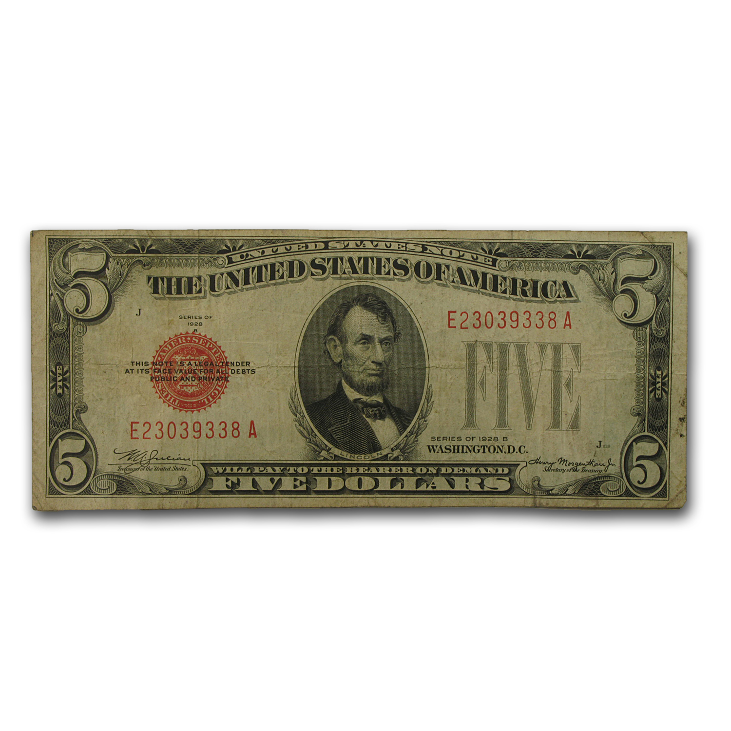 1928-B thru 1928-F $5.00 U.S. Note Red Seal VG/VF